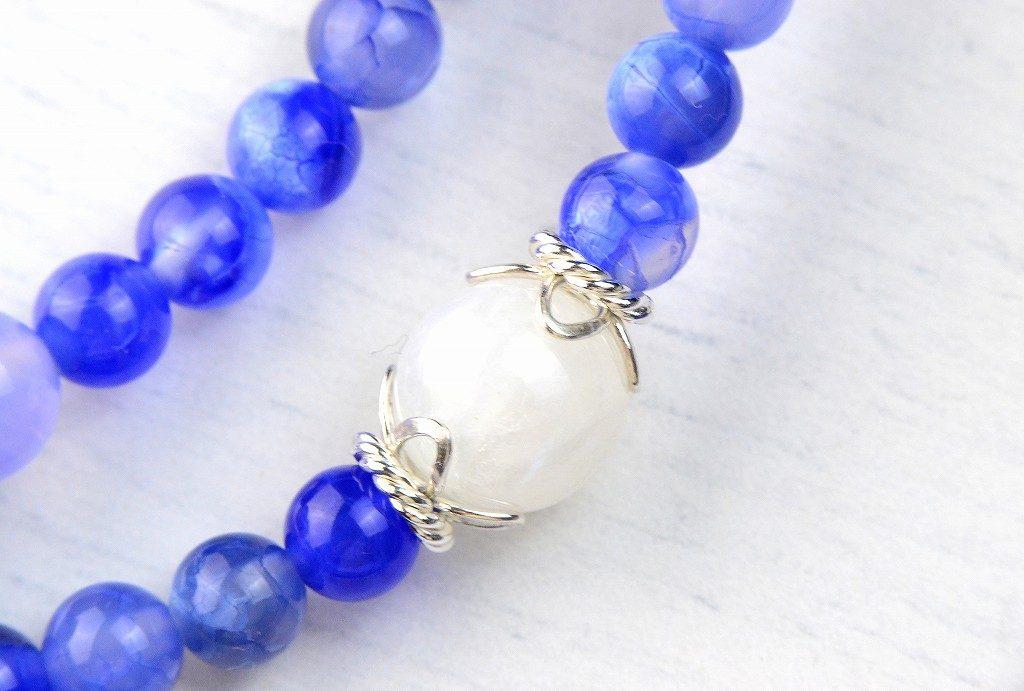 【華数珠】ブルーアゲートの華数珠-3