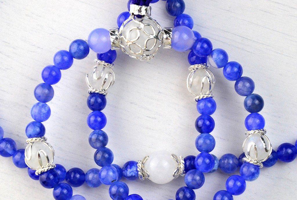 【華数珠】ブルーアゲートの華数珠-4