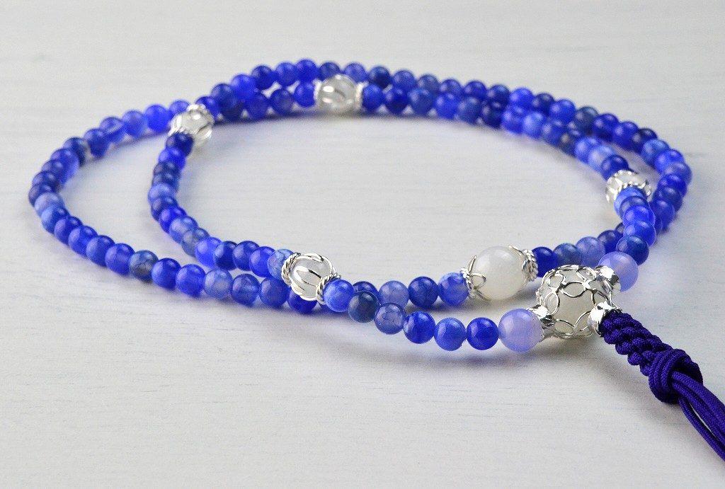 【華数珠】ブルーアゲートの華数珠-5