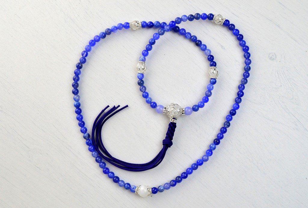 【華数珠】ブルーアゲートの華数珠-6