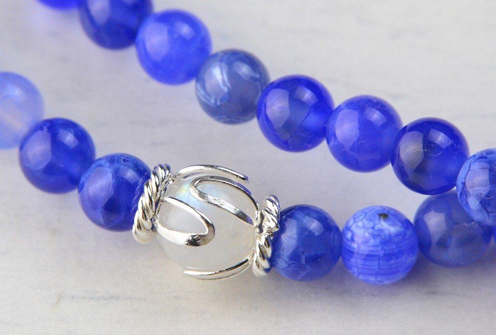【華数珠】ブルーアゲートの華数珠-7