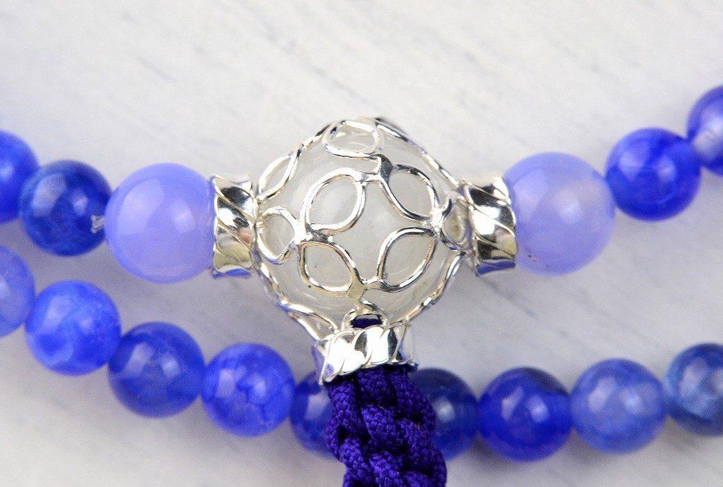 【華数珠】ブルーアゲートの華数珠-8