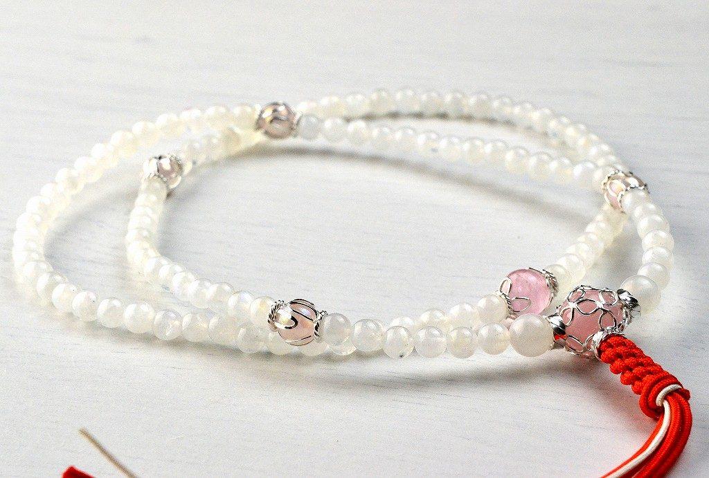 【華数珠】レインボームーンストーンの華数珠