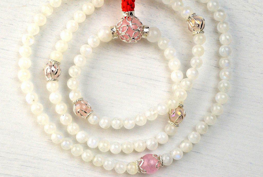 【華数珠】レインボームーンストーンの華数珠-1