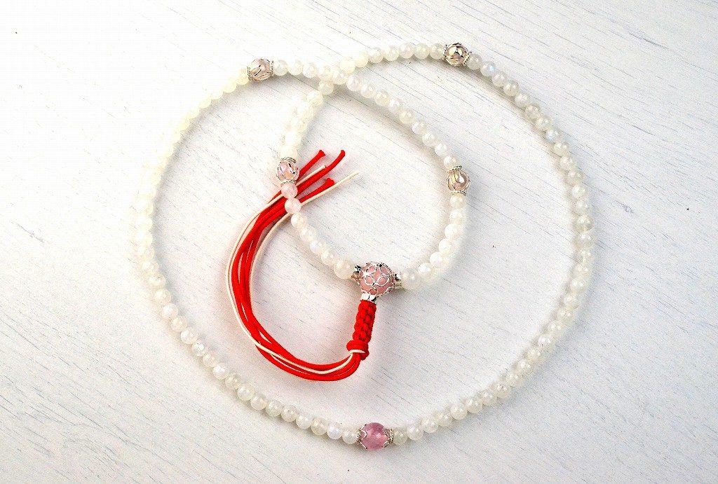 【華数珠】レインボームーンストーンの華数珠-2