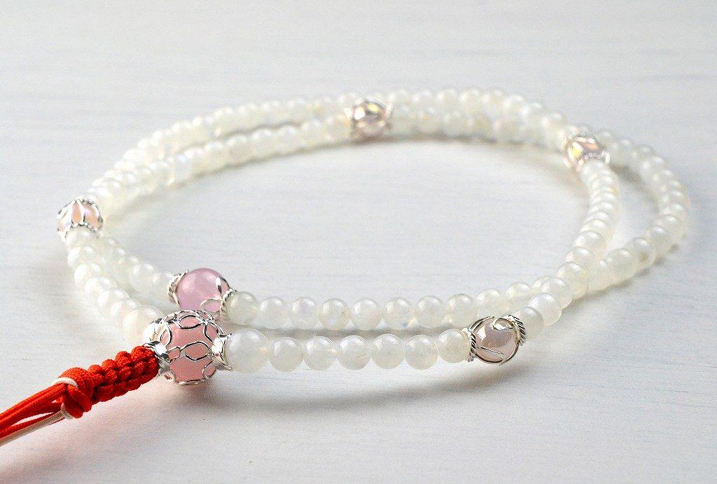 【華数珠】レインボームーンストーンの華数珠-4