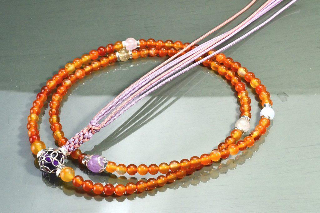 【華数珠】カーネリアン・華やかな願い