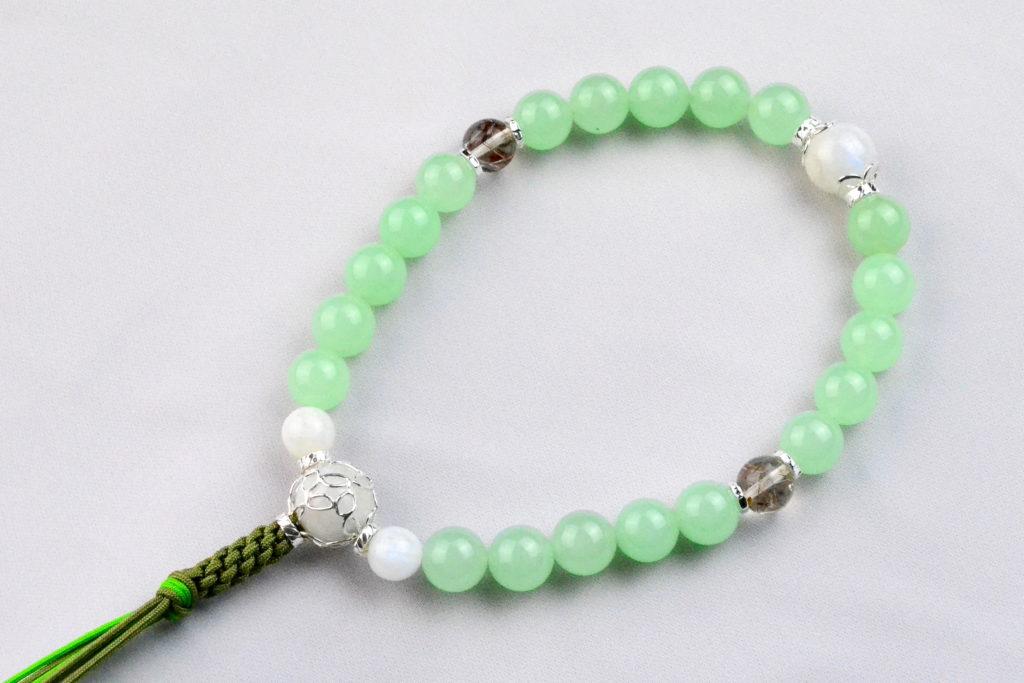 12mm珠 ライムグリーンの華念珠