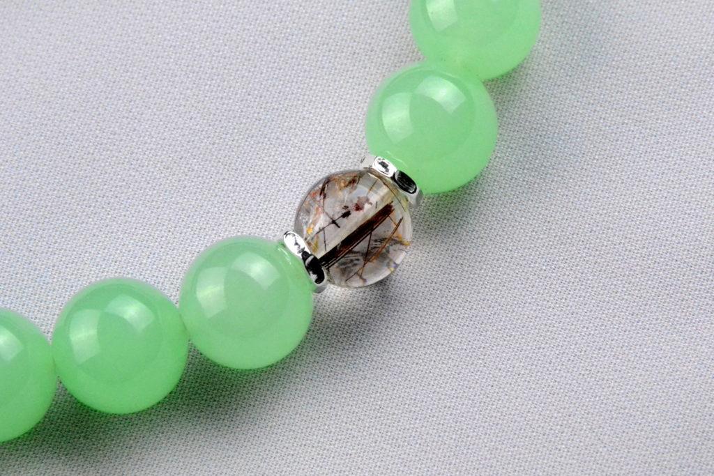 12mm珠 ライムグリーンの華念珠-4
