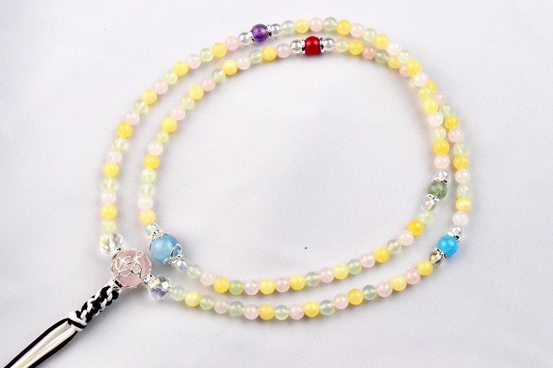 マルチカラークォーツの華数珠
