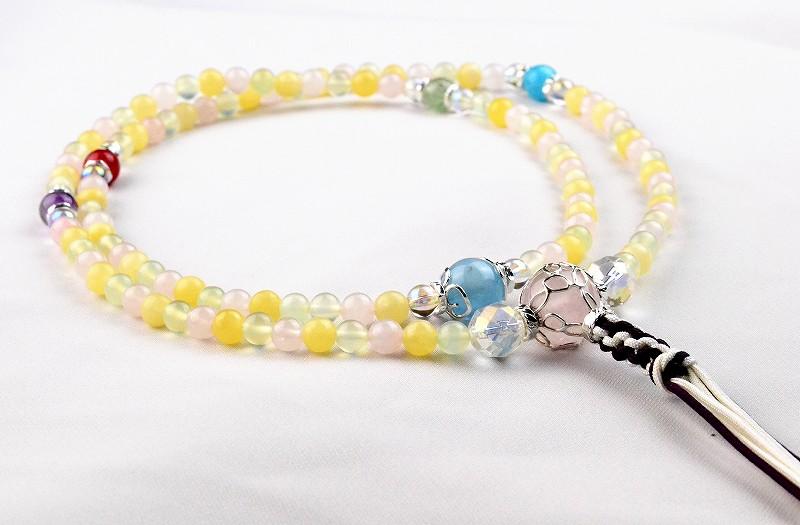 マルチカラークォーツの華数珠-1