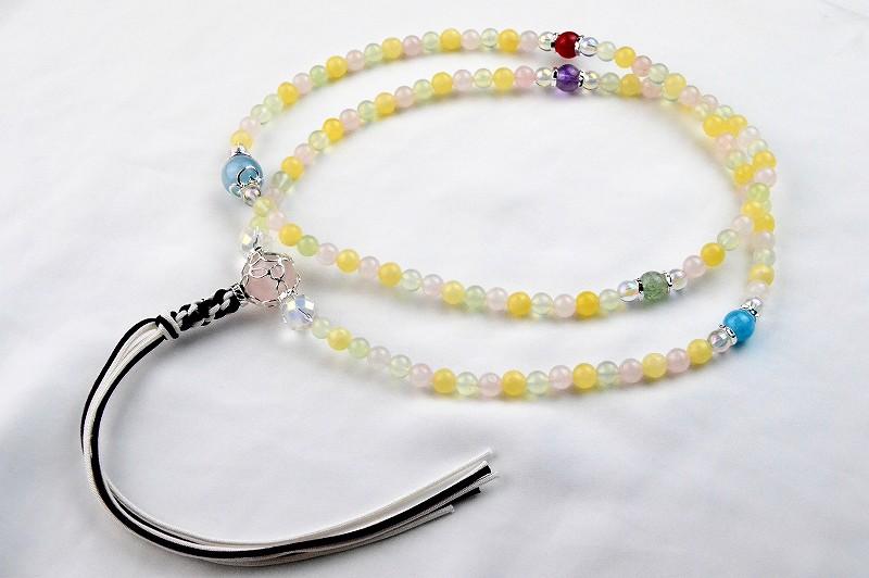 マルチカラークォーツの華数珠-2