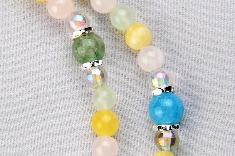 マルチカラークォーツの華数珠-3