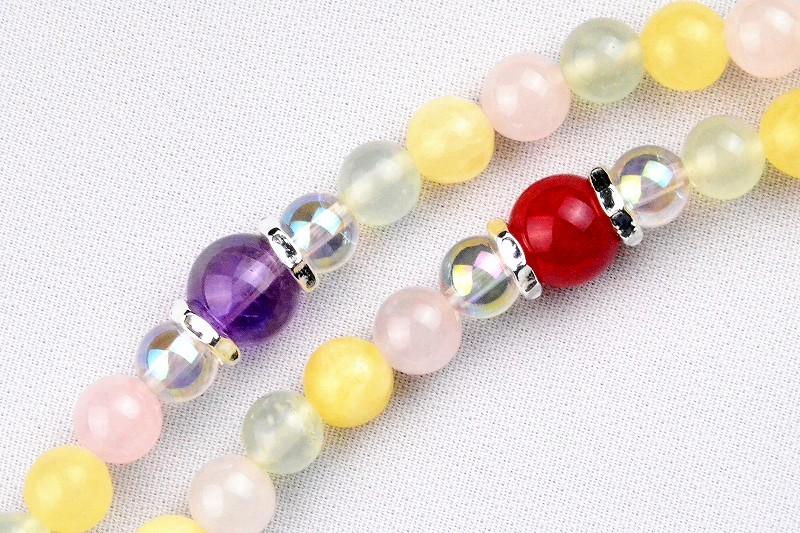 マルチカラークォーツの華数珠-4