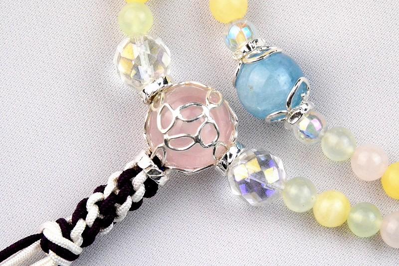 マルチカラークォーツの華数珠-5