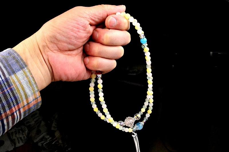 マルチカラークォーツの華数珠-7