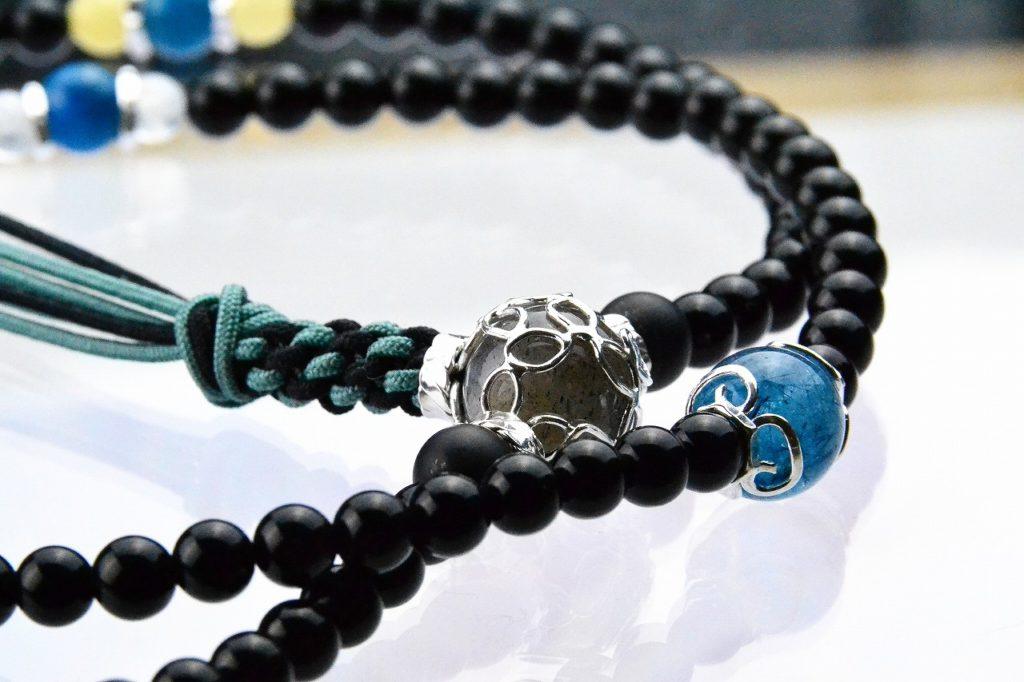 オニキスの精悍な華数珠-4