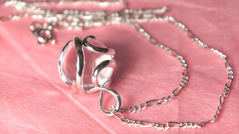 無添加純銀 フュージョンルーツ  水晶ネックレス