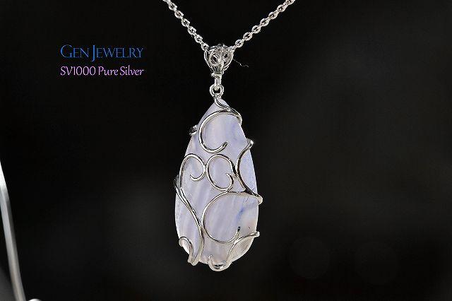 無添加純銀アラベスク ブルーレースアゲートネックレス-9