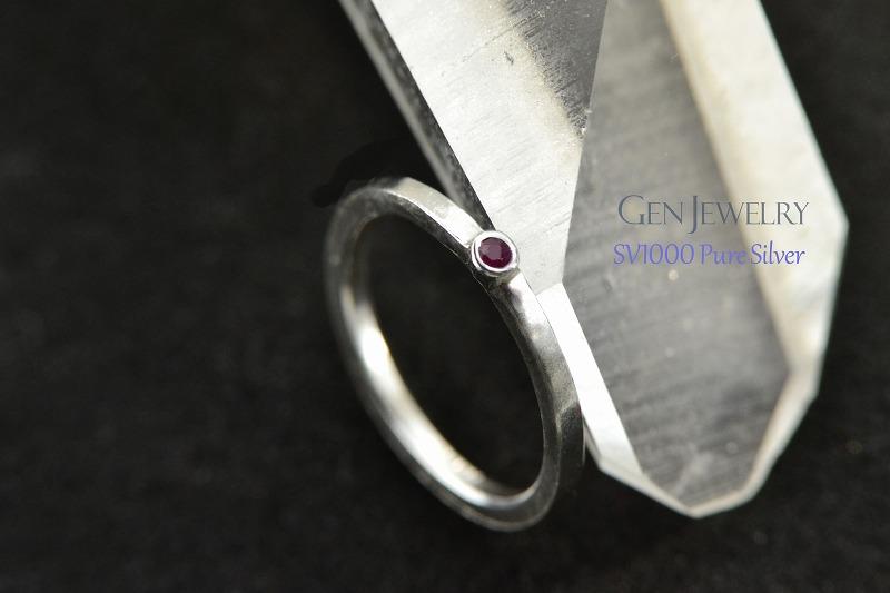 無添加純銀 天然ルビーの かわいゴージャスなプチリング-2