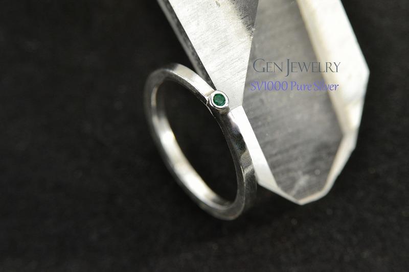 無添加純銀 天然エメラルドの かわいゴージャスなプチリング-2